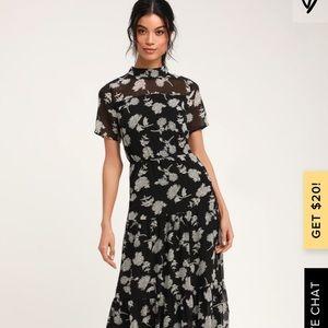 Lulu's floral black midi dress